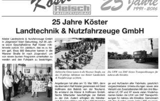 2016 – 25 Jahre Köster Landtechnik & Nutzfahrzeuge GmbH